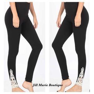 Black leggings cotton petite S,M, L, XL NWT